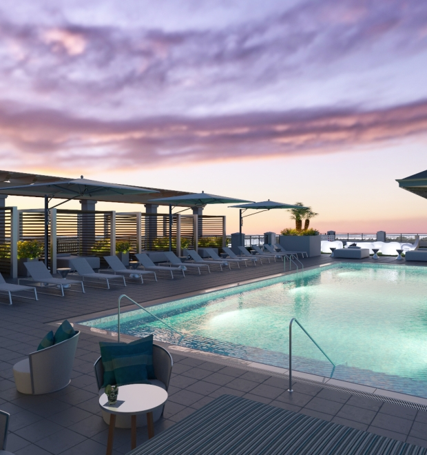 Ara rooftop pool and lounge