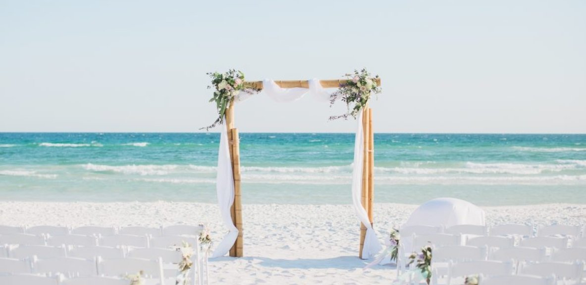 Callie and Roy's beach wedding set up