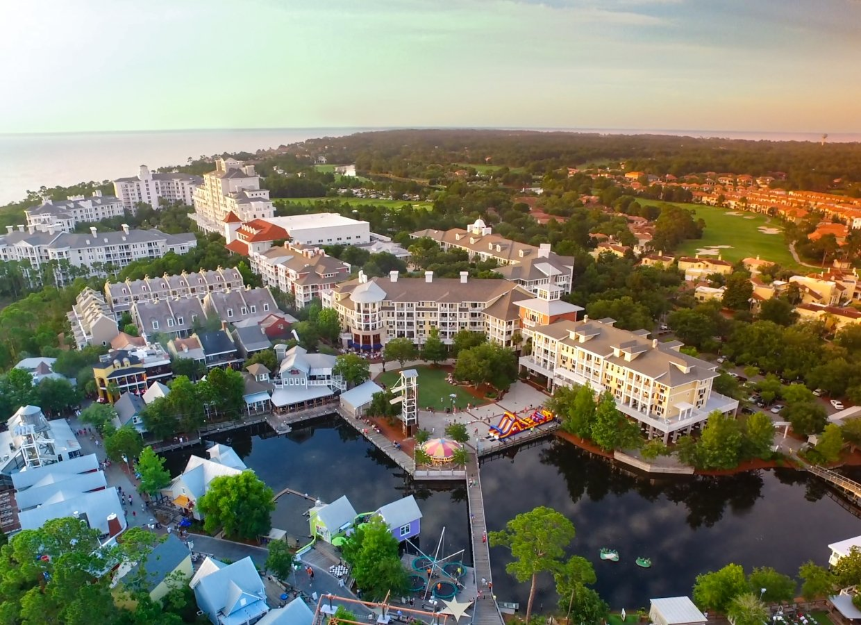 Aerial view of Baytowne on Sadestin Golf and Beach Resort