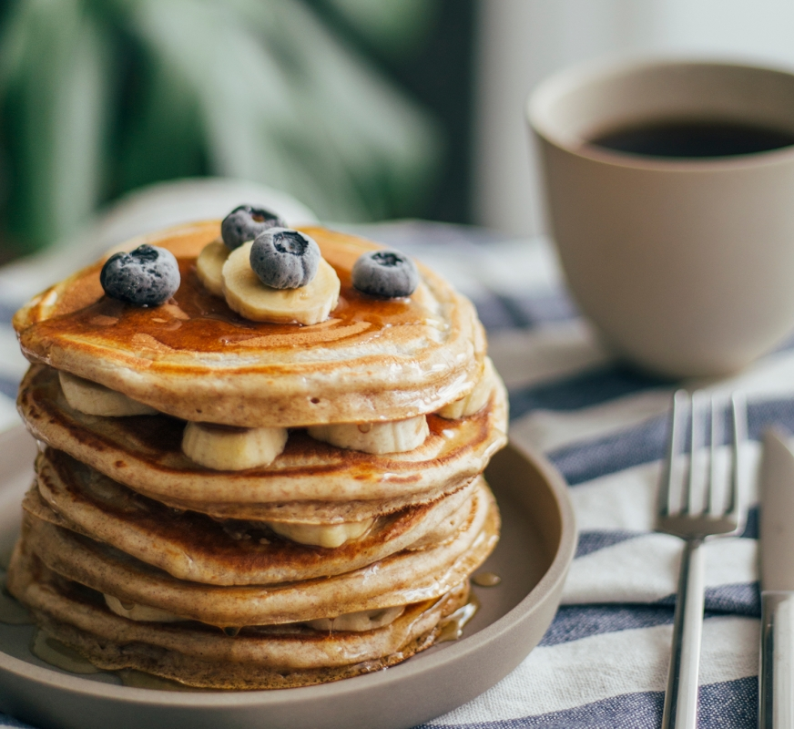 A stack of banana and blueberry pancakes from Hotel Effie